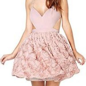 Haoduoyi Pink Floral Cut out Babydoll Dress